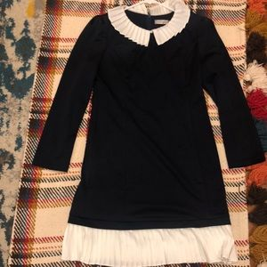 Classic Navy blue dress with white collar and trim